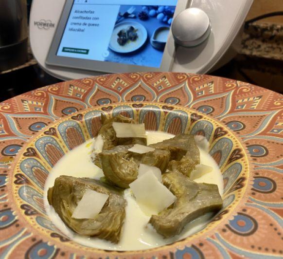 Alcachofas confitadas con crema de queso Idiazábal Con Thermomix®