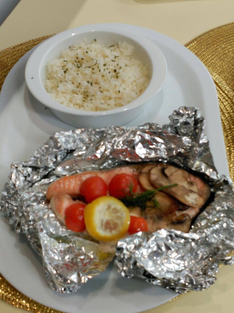 Salmon en papillote con champi ones y arroz con thermomix - Salmon con champinones ...