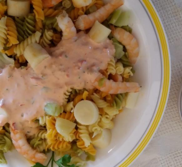 Ensalada de pasta y palmitos con salsa mil islas con Thermomix®