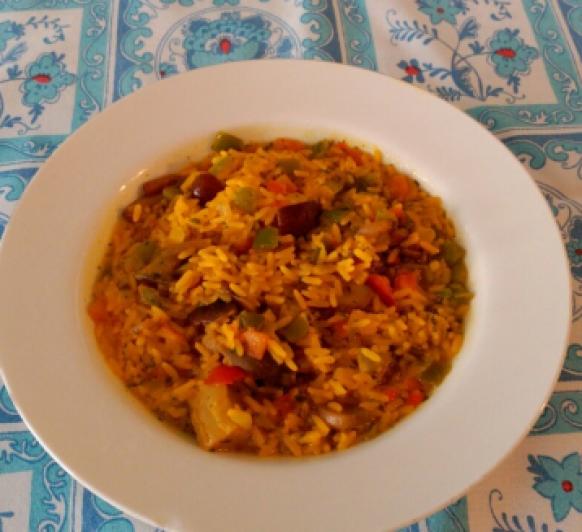 Arroz de verduras al curry.