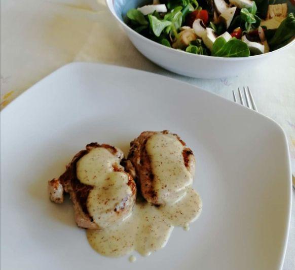 Tacos de solomillo ibérico a la mostaza (HESTAN CUE) con Thermomix® .