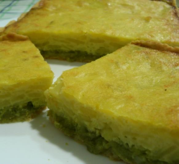 Coca de Pimientos Verdes y Patatas
