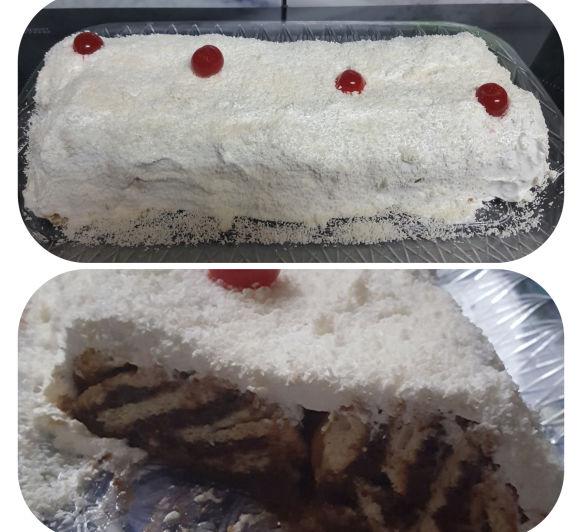 Pastel de galletas borrachas con chocolate, merengue y coco con Thermomix®